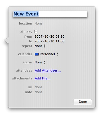 iCal inline event editor panel